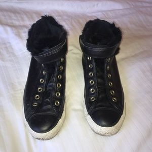 Fuzzy black converse sneakers
